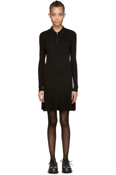 McQ Alexander Mcqueen - Black Ribbed Wool Dress