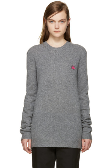 McQ Alexander Mcqueen - Grey Embroidered Swallow Sweater