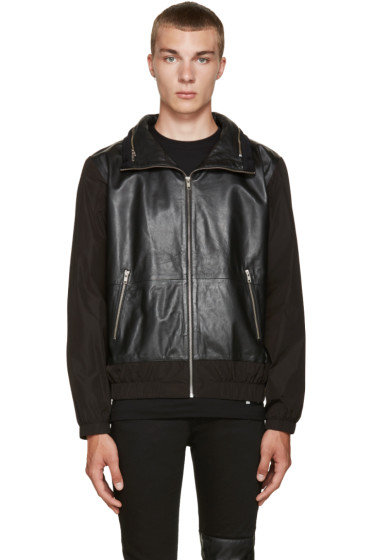 McQ Alexander Mcqueen - Black Leather Windbreaker Jacket