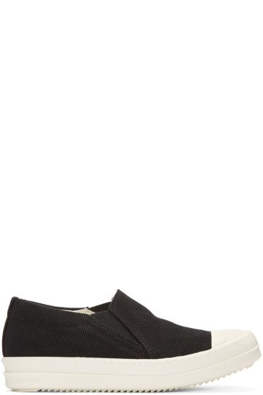 Rick Owens Drkshdw - Black Canvas Boat Sneakers