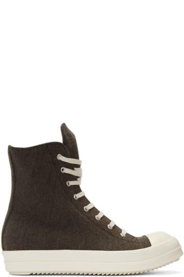 Rick Owens Drkshdw - Brown Flannel High-Top Sneakers