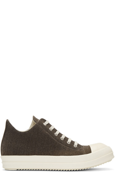 Rick Owens Drkshdw - Brown Flannel Sneakers