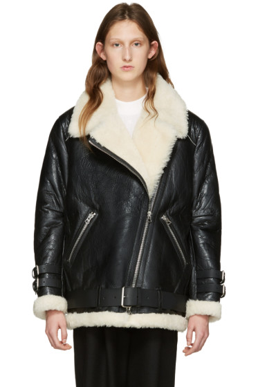 Acne Studios - Black Cracked Shearling Velocite Jacket