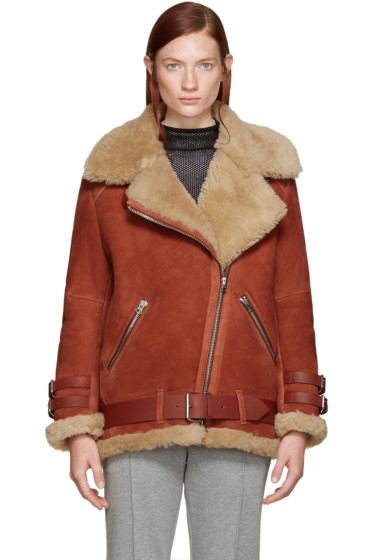 Acne Studios - Red Shearling Velocite Coat