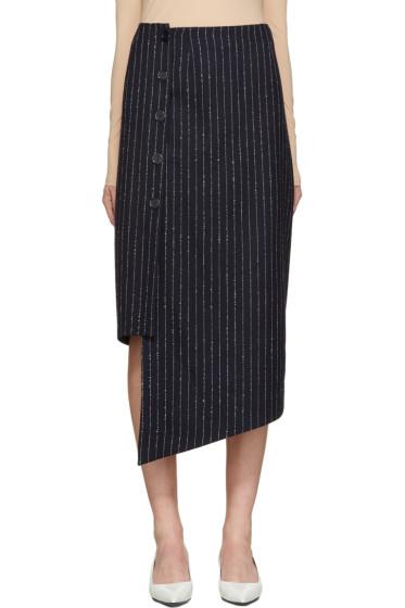 Acne Studios - Navy Pinstriped Plate Skirt