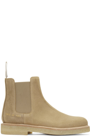 Common Projects - Beige Suede Chelsea Workboots