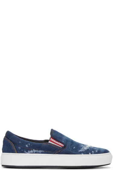 Dsquared2 - Indigo Denim Slip-On Sneakers