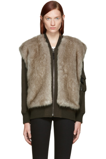 Helmut Lang - Green Faux-Fur Bomber Jacket