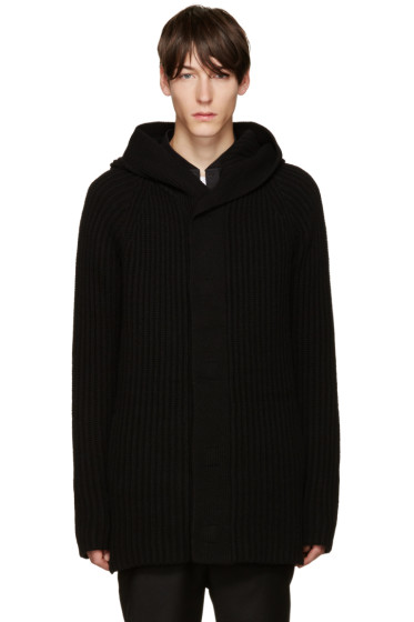 Helmut Lang - Black Wool Hooded Cardigan