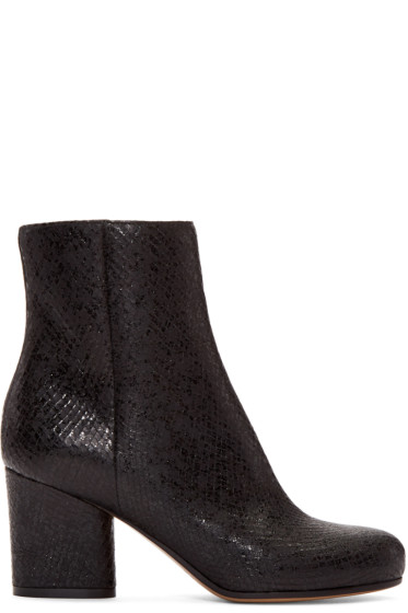 Maison Margiela - Black Snake-Embossed Trunk Boots