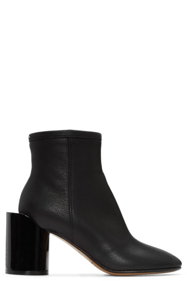 Maison Margiela - Black Leather Cut-Out Boots