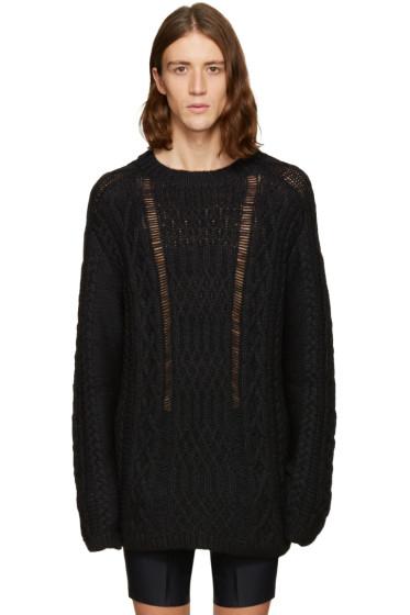 Maison Margiela - Black Oversized Cable Knit Sweater