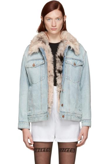 Alexander Wang - Blue Denim Shearling Boyfit Jacket