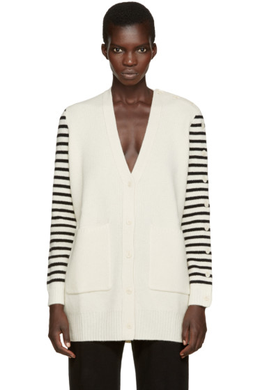 MM6 Maison Margiela - Ivory Wool Striped Cardigan