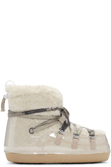 MM6 Maison Margiela - Beige Teddy Ankle Boots