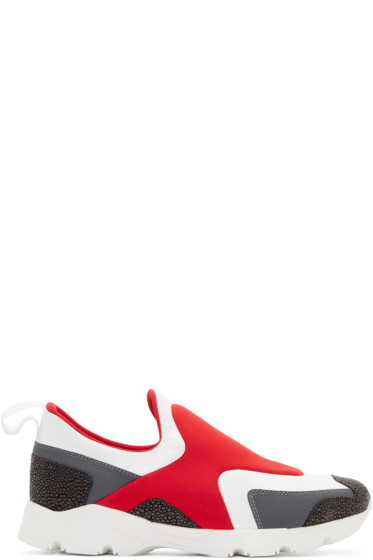 MM6 Maison Margiela - Red & White Neoprene Slip-On Sneakers