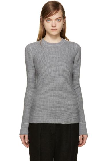 T by Alexander Wang - Grey Merino Wool Waffle-Knit Sweater