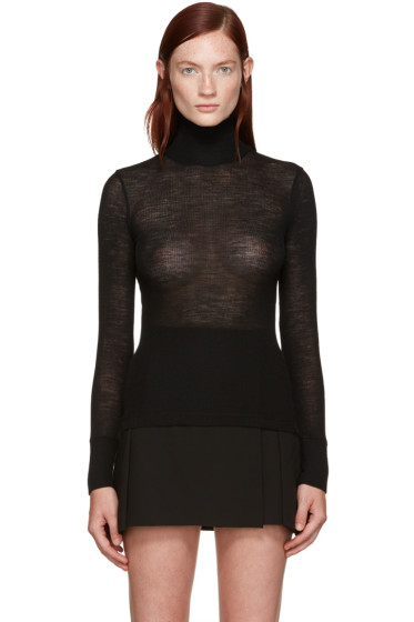 T by Alexander Wang - Black Ribbed Wool Turtleneck