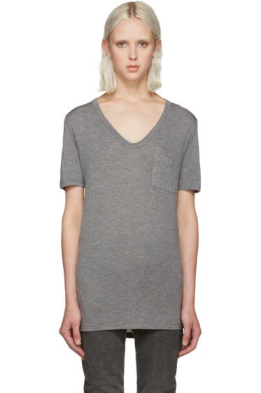 T by Alexander Wang - Grey Jersey Pocket T-Shirt