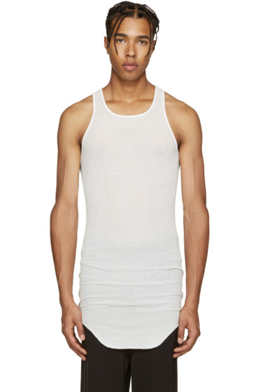 Rick Owens - White Ribbed Jersey Tank