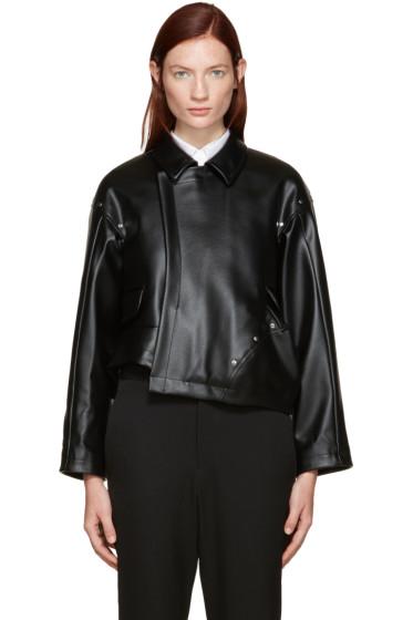 Comme des Garçons - Black Faux-Leather Asymmetric Jacket