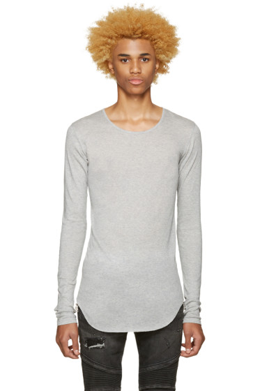 Balmain - Grey Ribbed T-Shirt