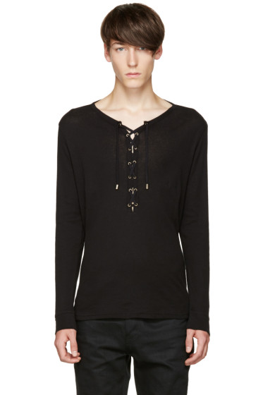 Balmain - Black Lace-Up T-Shirt