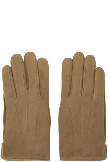 A.P.C. - Brown Sude Luc Gloves