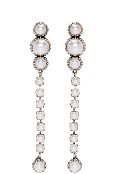 Lanvin - Silver Pearl Drop Earrings