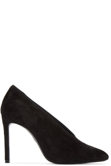 Lanvin - Black Suede V-Neck Heels