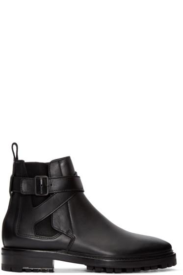 Lanvin - Black Leather Straps Boots