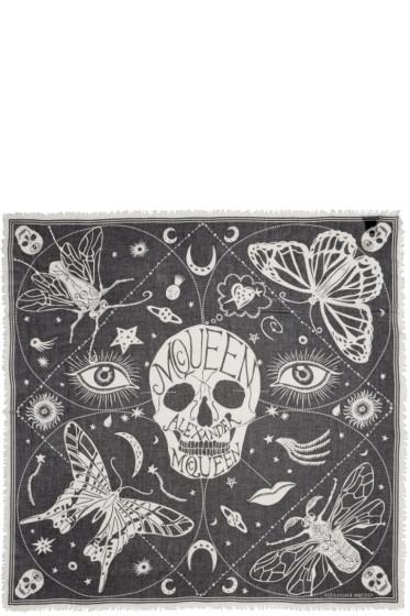 Alexander McQueen - Black & White Silk Zodiac Skulls Scarf