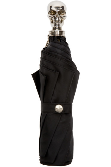 Alexander McQueen - Black & Silver Skull Compact Umbrella