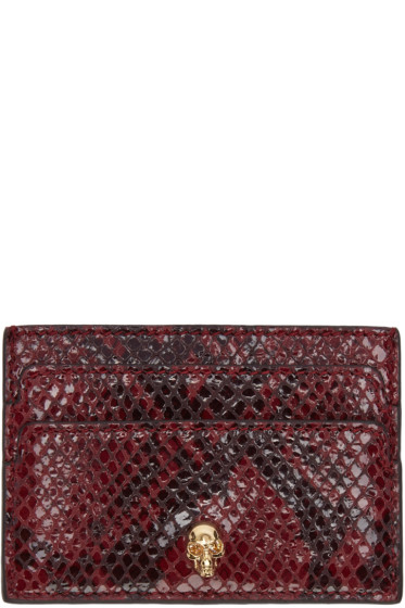 Alexander McQueen - Burgundy Python-Embossed Card Holder
