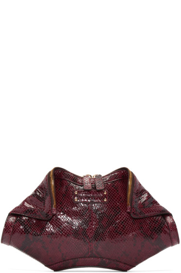Alexander McQueen - Burgundy Python-Embossed Small De Manta Clutch