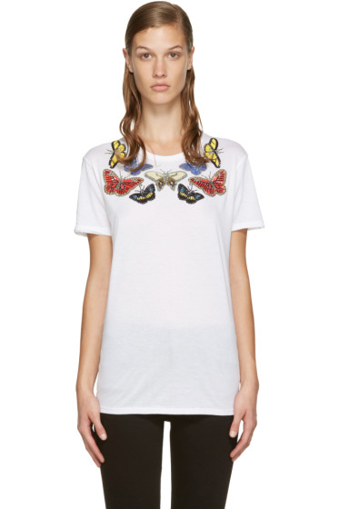Alexander McQueen - White Sequinned Butterfly T-Shirt