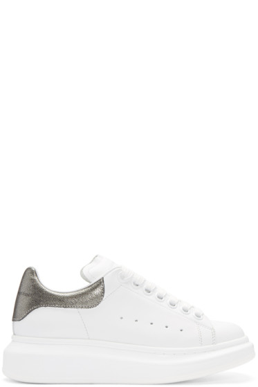 Alexander McQueen - White & Gunmetal Leather Sneakers