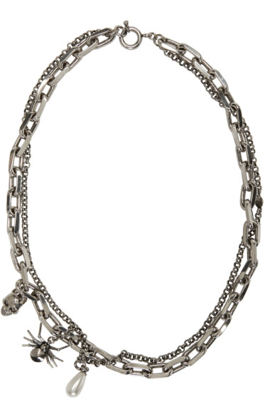 Alexander McQueen - Silver Layered Skull & Spider Necklace