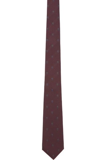 Alexander McQueen - Burgundy Skull Print Tie