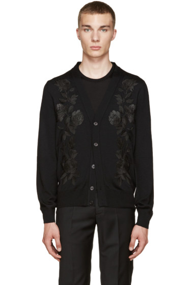 Alexander McQueen - Black Embroidered Floral Cardigan