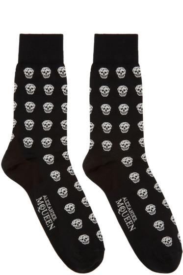 Alexander McQueen Black & White Skulls Socks
