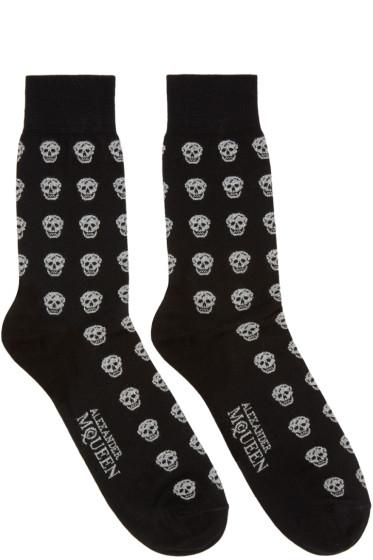 Alexander McQueen Black & Silver Metallic Skulls Socks