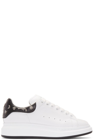 Alexander McQueen - White & Black Embellished Sneakers