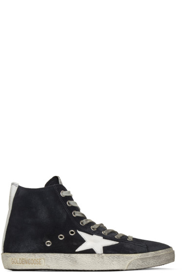 Golden Goose - Navy Suede Francy High-Top Sneakers