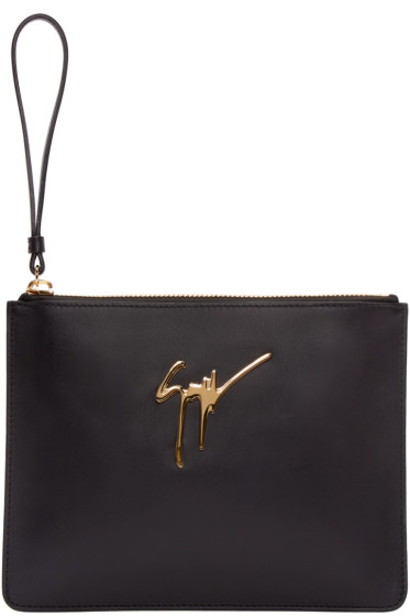 Giuseppe Zanotti - Black Leather Zip Pouch