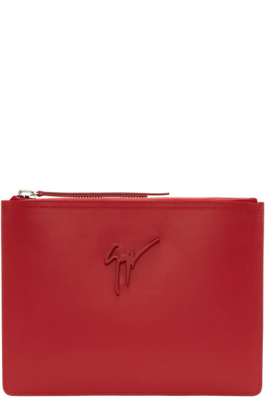 Giuseppe Zanotti - Red Leather Zip Pouch
