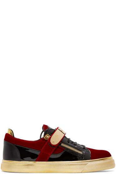 Giuseppe Zanotti - Red & Black Velvet London Sneakers