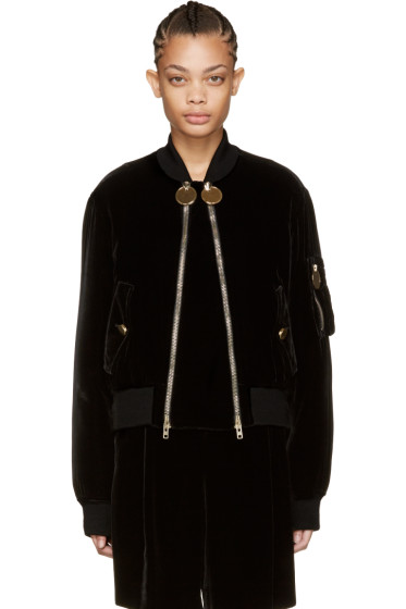 Givenchy - Black Velvet Bomber Jacket
