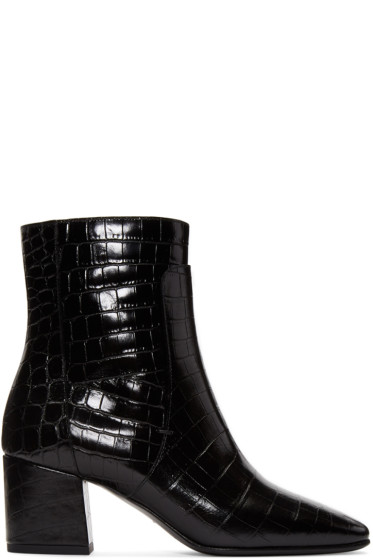 Givenchy - Black Croc-Embossed Paris Boots