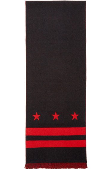 Givenchy - Black & Red Jacquard Scarf